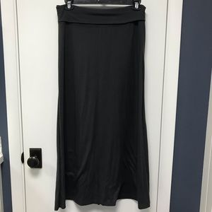 Gray soft maxi skirt with fold-over top; Old Navy